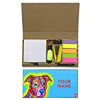 Nutcaseshop パーソナライズ ステーショナリーキット デスク カスタマイズ オーガナイザー メモ メモ メモ帳 付箋 タブ - 犬 ラブ