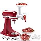 Food Meat Grinder Attachments for KitchenAid Stand Mixers, Durable Meat Grinder, Sausage Stuffer Attachment Compatible with All KitchenAid Stand Mixers, includes 2 Sausage Stuffer Tubes, White