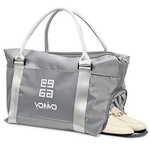 YONiMO 旅行バッグ 多機能 靴収納 乾湿分離 トートバッグ 大容量 マザーズバッグ キャリーオンバッグ 機内持ち込み スポーツ ジム通い 軽量 お洒落 旅行 出張 最適 ショルダーバッグ (グレー)