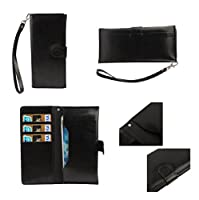 DFV mobile - Cover Premium Synthetic Leather with Card Case and Close by Magnet for => KAZAM TORNADO 348 > Black