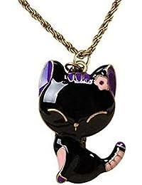 Ruikey レディース 可愛い バラック 猫 ねこ ペンダント ネックレス シンプル ネコ アクセサリー 最高の バレンタインデー 記念日 誕生日の贈り物 プレゼント 贈り物 プレゼント お礼 ギフト