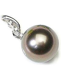 J-Jewelry K18ホワイトゴールド 11mm南洋黒真珠 ダイヤ ペンダント