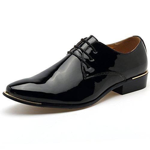 (ゼットージョイ) Z-joyee ビジネスシューズ メンズ 紳士靴 エナメル フォーマル ドレスシューズ レースアップ尖頭靴、ブラック、26.5cm