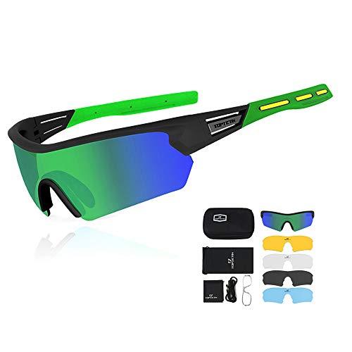 偏光スポーツサングラス サイクリング 釣り ランニング 運転 ゴルフ 野球 野外活動 男性用交換レンズ5本付きUV400保護サイクリングメガネ (グリーン)