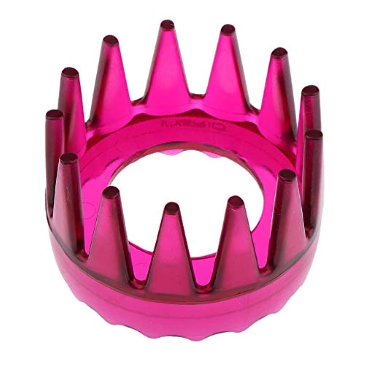 合体フレキシブル知的Perfeclan 全4色 シャンプーブラシ 洗髪櫛 マッサージャー ヘアコーム ヘアブラシ 直径約6cm プラスチック製 - ローズレッド