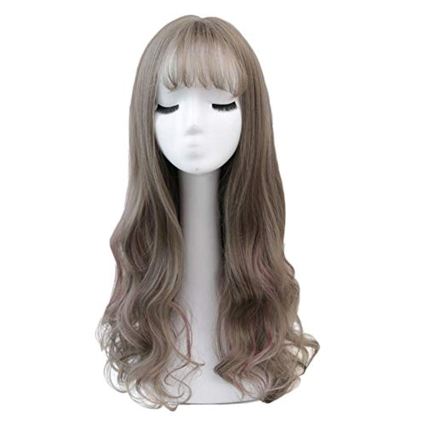 月曜マキシム謝罪するかつら女性の大きな波巻き毛のハイライト空気前髪長い巻き毛ふわふわ自然人格ファッション長い髪のかつら