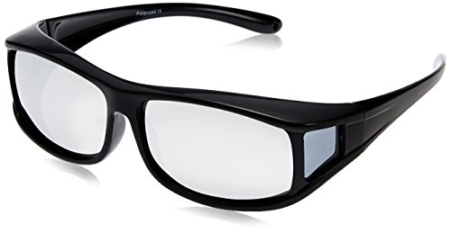 Br'Guras 偏光 UV400 紫外線カット メガネの上から掛けられるオーバーサングラス (ブラックA_ミラー)
