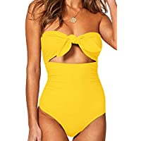 BOOSOULY Women's Beandeau Tie Knot Front Cut Out High Waist One Piece Swimsuits