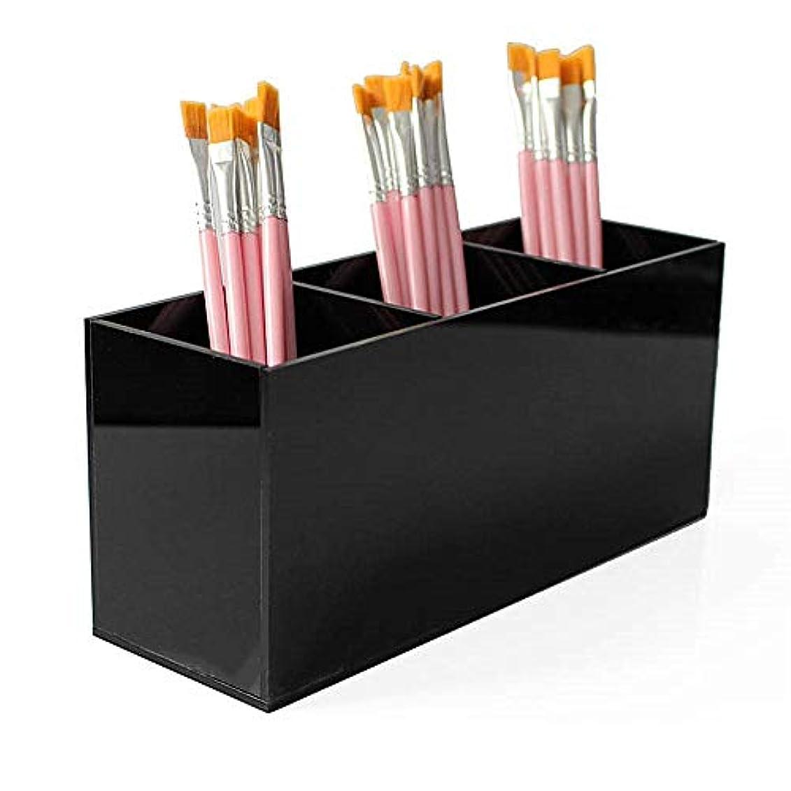 飛行場聡明真剣に整理簡単 シンプルなブラックアクリル化粧ブラシホルダーオーガナイザーボックス3スロット化粧品ブラシ収納 (Color : Black, Size : 20*6.5*9 cm)