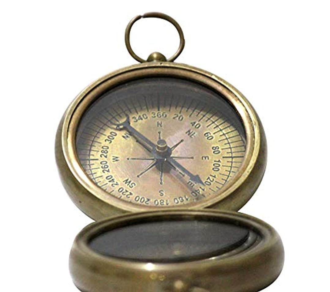 磨かれた指マチュピチュNautical Vintage Antique Finish Compass Shiny Brass Finish Compass by Collectibles Buy