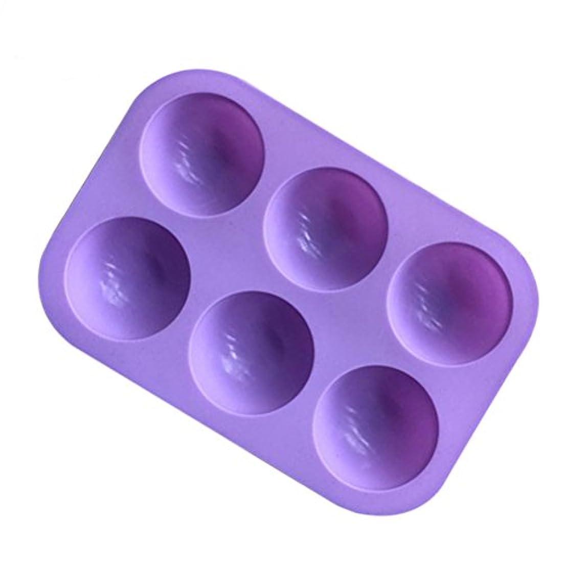 BESTONZON シリコンソープモールド半円マフィンパンカップケーキキャンディモールドケーキチョコレートモールドベーキングモールド6個のキャビティ(紫色)