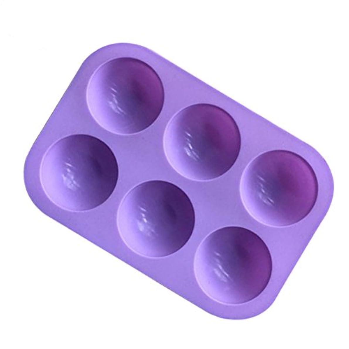 放出厚さライターBESTONZON シリコンソープモールド半円マフィンパンカップケーキキャンディモールドケーキチョコレートモールドベーキングモールド6個のキャビティ(紫色)
