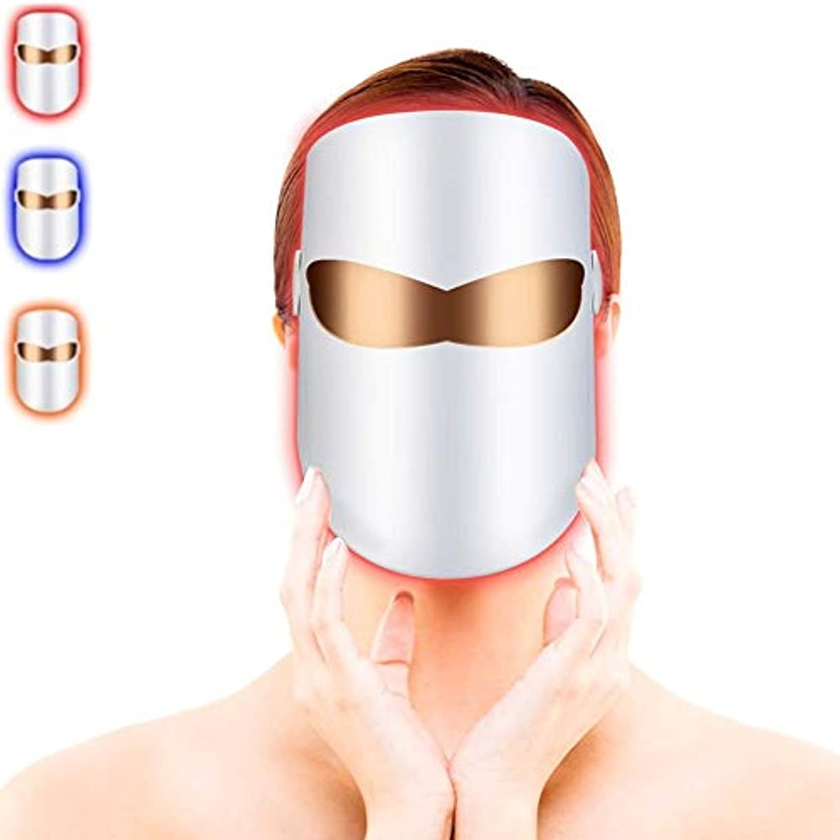 雹プレゼンターデータムLEDフェイシャルマスク、ライトセラピーフェイスマスクにきび治療、LEDフォトンセラピーフェイシャル美容マスクにきびスポットのしわコラーゲンコラーゲンスキンケアの若返りのための無制限の治療