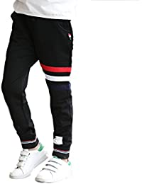 2649d49e01909 YUEGUANG 子供服 ロングパンツ ジュニア 長ズボン ウエストゴム 縞模様 ジャージ コットン 男の子 男児