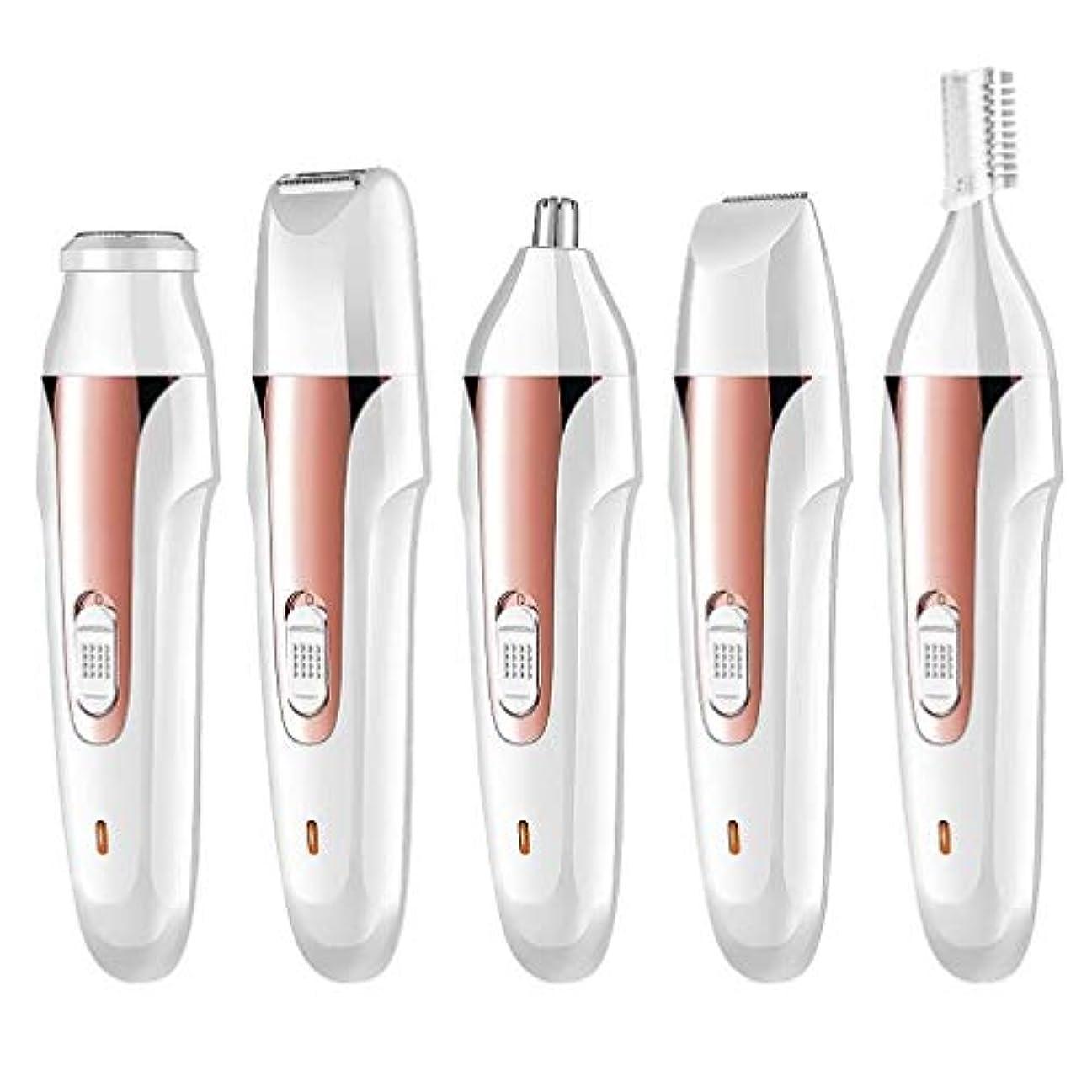 ユーザースイス人快適ポータブル鼻毛トリマー - 電動脱毛器具、USB充電器、多機能5つ1つ、眉毛形削りナイフ、ユニセックス (Color : 1)