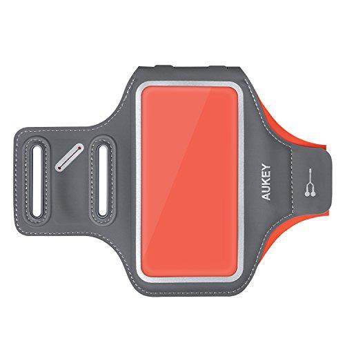 AUKEY スポーツアームバンド ヘッドフォンホルダー 携帯ケース 4.7インチ以内のスマホに対応 オレンジ PC-T11