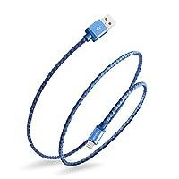 Luxtude ライトニングケーブル iPhone 充電ケーブル 急速充電 超強い互換性 高耐久デニム編み 高速データ転送 Apple MFI認証 for iPhone/iPod/iPad 各種対応 1M (ブルー)