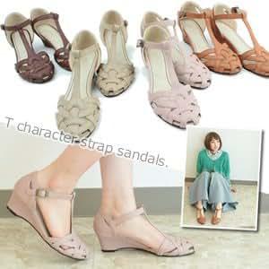 [ジャッコランタン] 丸いフォルムが足元から可愛らしく爽やかに仕上げてくれる T字ストラップ編みメッシュウエッジソールヒールサンダル (レディース ファッション 靴 シューズ 秋の靴) LLサイズ ピンク