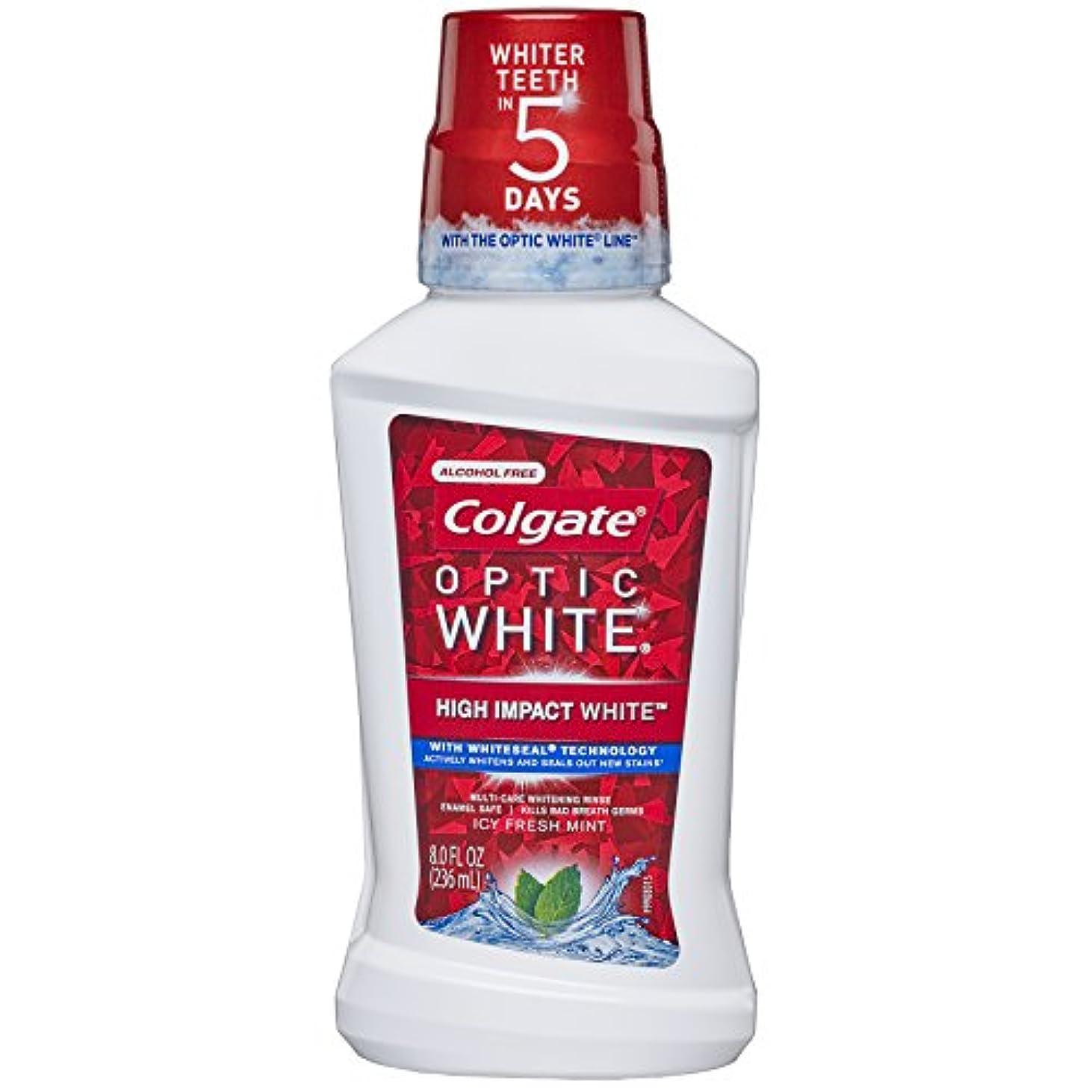 ゆるくリフレッシュ消費するColgate オプティックホワイトホワイトニングマウスウォッシュ、アイシーミント、8液量オンス(6パック)