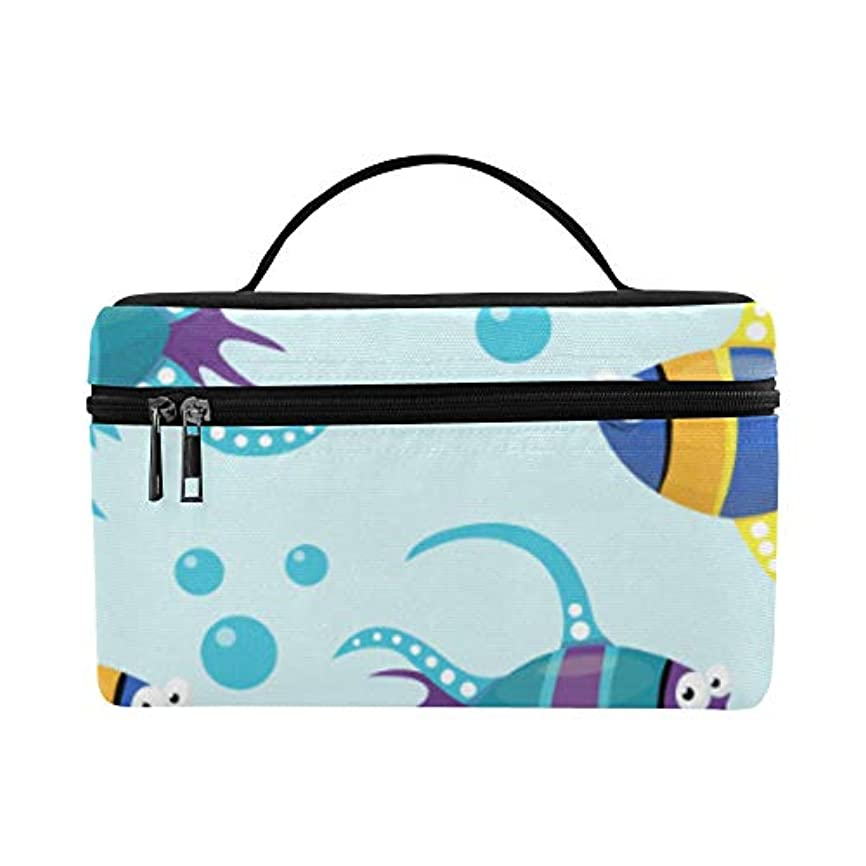 汚染する猫背夫TELSG メイクボックス 面白い魚 コスメ収納 化粧品収納ケース 大容量 収納ボックス 化粧品入れ 化粧バッグ 旅行用 メイクブラシバッグ 化粧箱 持ち運び便利 プロ用