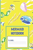 Mermaid Notebook: Mermaid gifts for women and girls: cute & elegant Gorse yellow designed blank Lined notebook/Journal to write in.