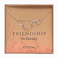4つFriendネックレス、スターリングシルバー友情酷使infinity円ギフト4Best Friendsグループ