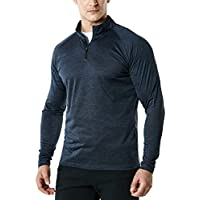TSLA Men's 1/4 Zip Performance Running Outdoor Multi Sports Top, HyperDri Cool Dry Active Sporty All-Day Shirt Top