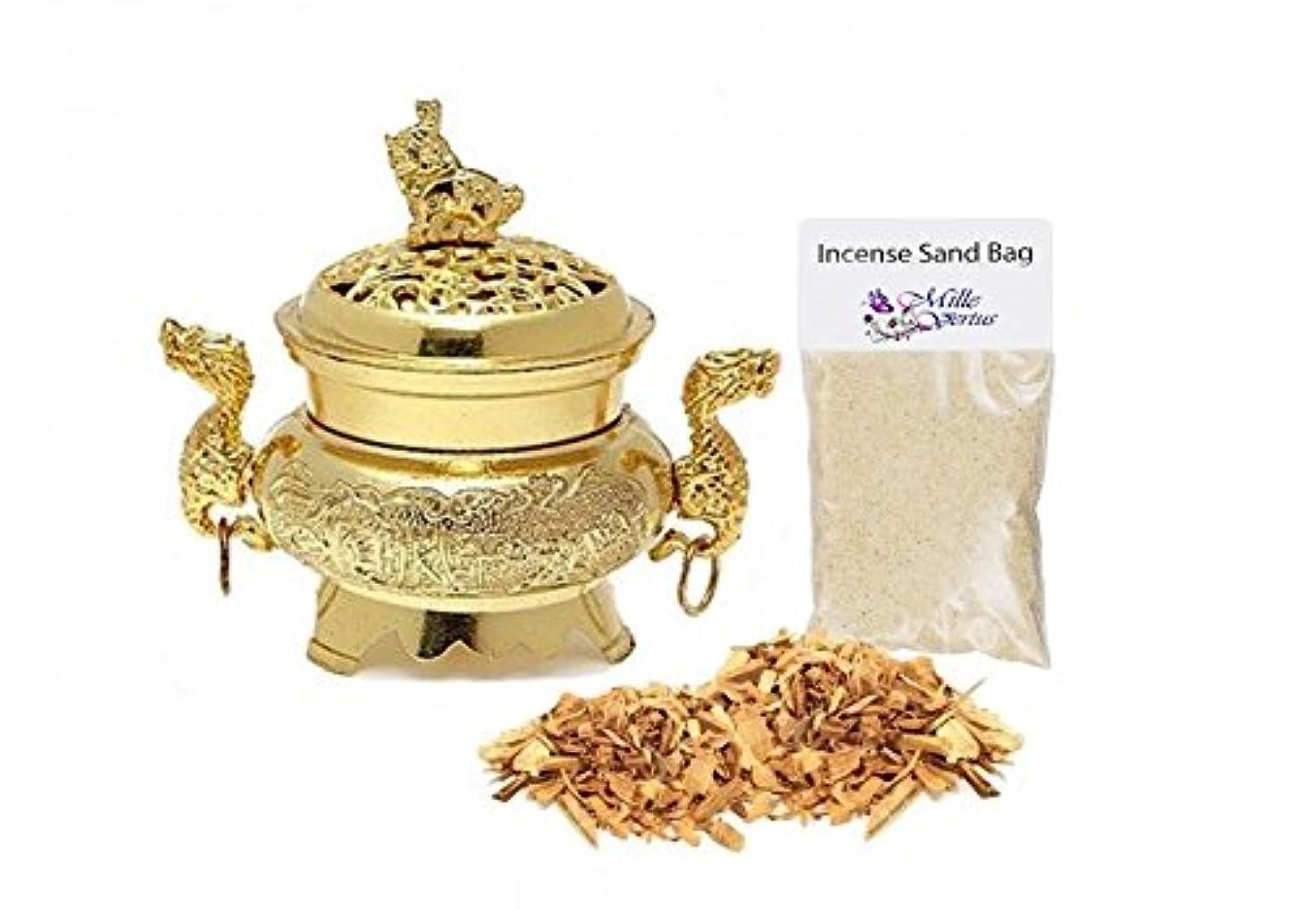 淡いファーザーファージュ呼びかけるダブルドラゴン香炉ホルダーwith Palo SantoウッドIncense Burningキット(ゴールド)