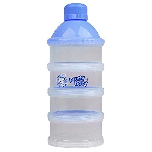 Seliyi 赤ちゃん ベビー お出かけ用 4層 粉ミルク スナック 離乳食 保存容器 フードボックス ボトル ブルー