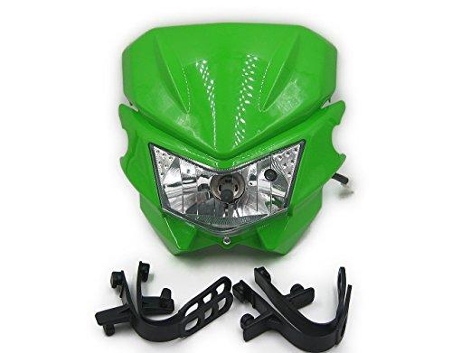 汎用 オフロード バイク ヘッドライト カウル 選べるカラー (グリーン)