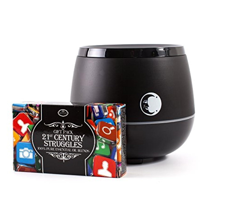 ボート守るまろやかなMystic Moments | Black Aromatherapy Oil Ultrasonic Diffuser With Bluetooth Speaker & LED Lights + 21st Century...