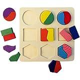 HJ 形合わせ 形あわせ ブロック パズル 木のおもちゃ 幾何認知 積み木 形はめ かたちあわせ 知育 子供 おもちゃ (形C)