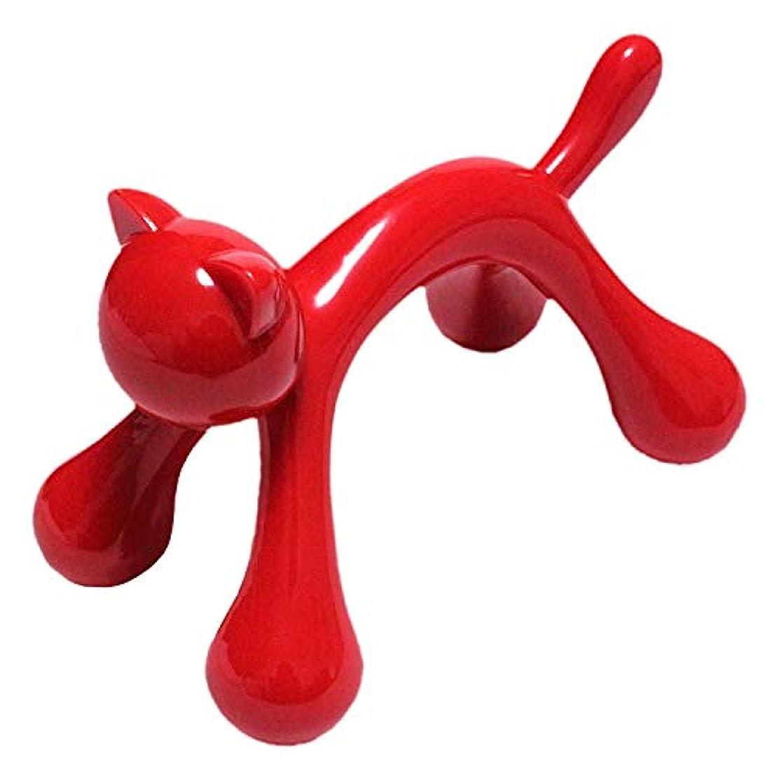 Suu マッサージ棒 ツボ押し 握りタイプ 背中 首 肩こり等の疲れ解消 可愛いネコ型 (赤)