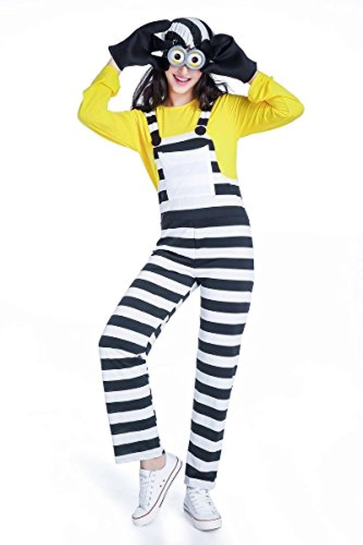 ミニオンズ 囚人服 コスプレ Halloween 仮装 ハロウィン コスプレ仮装 メンズ レディース 子供 親子 ペアルック (XL, 女)