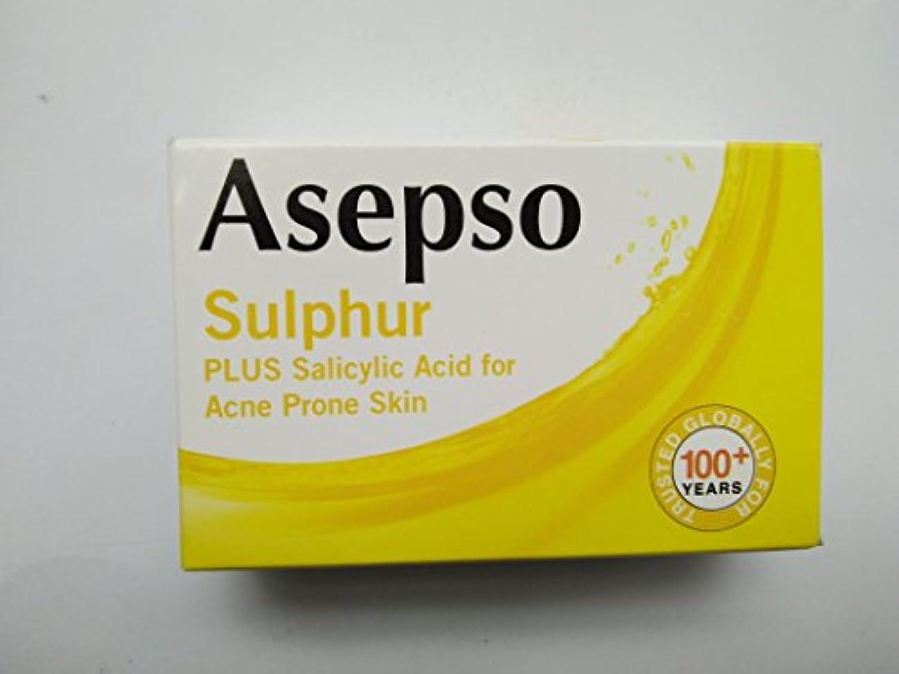 裁判所テーブルを設定するとティームAsepso にきび起こしやすい肌80グラムのために硫黄ソーププラスサリチル酸