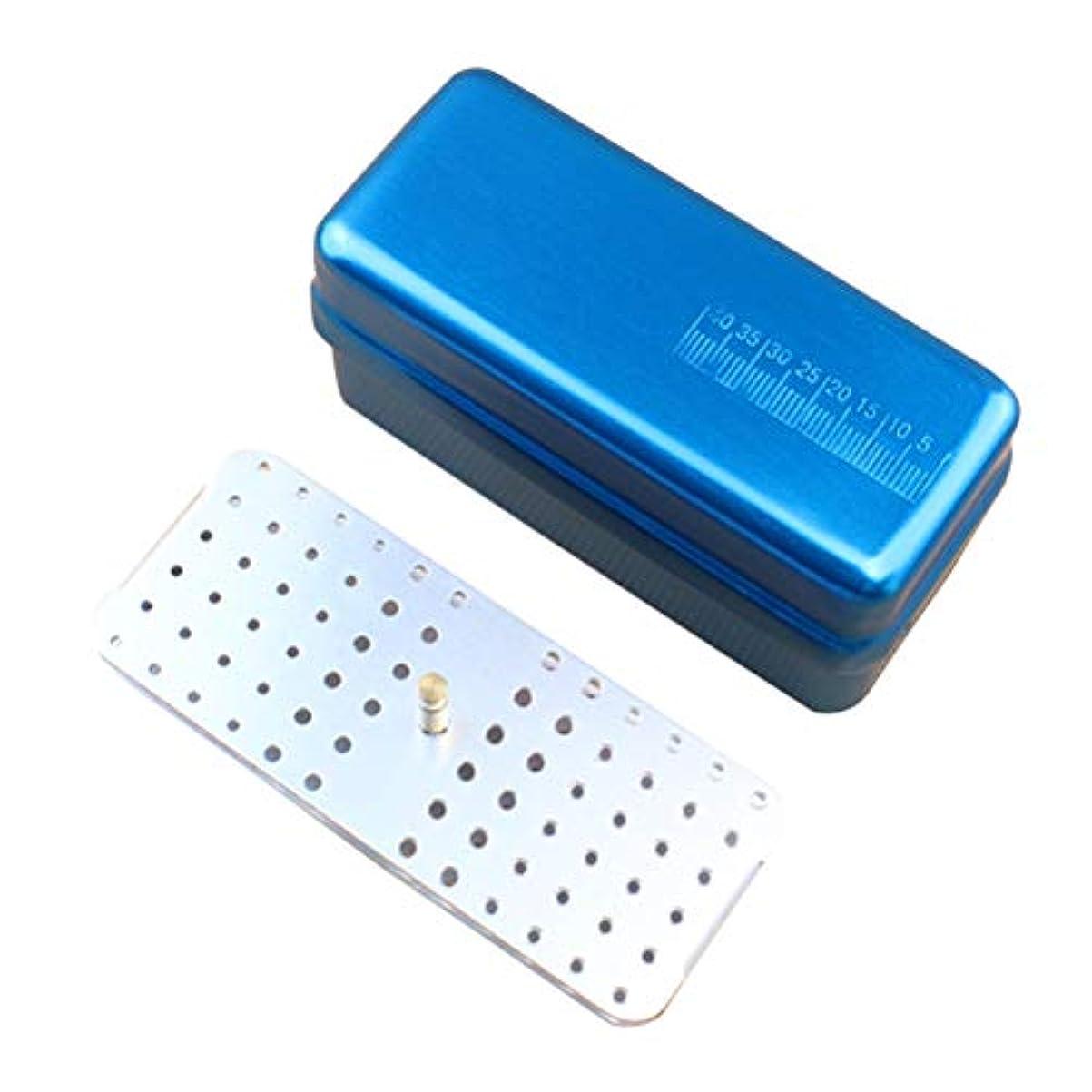 頑張る噛む常習的HEALLILY 72穴歯科用バーブロックホルダーダイヤモンドバーホルダーブロック消毒ボックス用オーラルケアツール1ピース(ブルー)