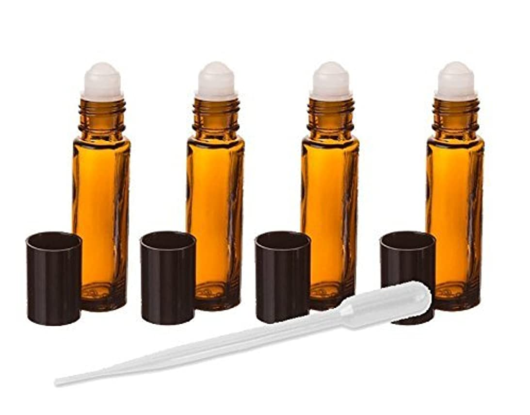 地平線飛行機拮抗するAmber Glass Essential Oil Rollerball Bottles, 8ml Aromatherapy Glass Roll on Bottles - Set of 6 (Amber) by Grand...