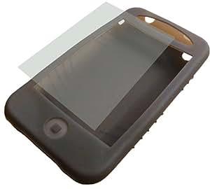 モアベスト i Phone 3G用シリコンケース 液晶保護フィルム付 スモークブラック IPHONEBK