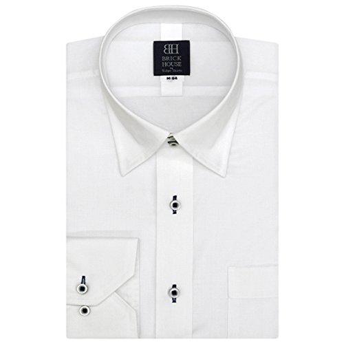 BRICK HOUSE 標準体 長袖 フィットインナー ワイシャツ ボットーニ スナップダウン BM017200AB12N3F-90 シロ M-84
