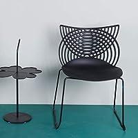 XINGPING-Furniture 創造的なデザイン鍛造鉄製の椅子プラスチックバック大人の椅子現代ミニマルキャットイヤーチェアホームカフェダイニングチェア (色 : ブラック)