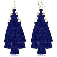 Elli Women Tassel Statement Pyramid 925 Sterling Silver Gold-Plated Earrings