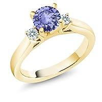 Gem Stone King 1.12カラット 天然石 タンザナイト シルバー925 イエローゴールドコーティング 指輪 リング