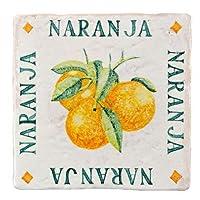 スパニッシュデザインタイル(白下地の上に手描き)オレンジ20mm×300mm×300mm