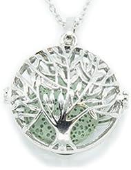 Sier Tree of Lifeアロマテラピー香水Essential Oil Diffuserネックレスロケットのラバストーン グリーン