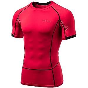 MUB13-RED_M (テスラ)TESLA 半袖 ラウンドネック スポーツシャツ [UVカット・吸汗速乾] コンプレッションウェア パワーストレッチ アンダーウェア