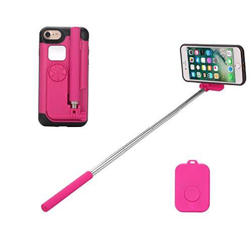 Yuuto iPhoneケース 一体型 自撮り棒 セルフィースティック iPhone7 iPhone6s 対応 (レッド)
