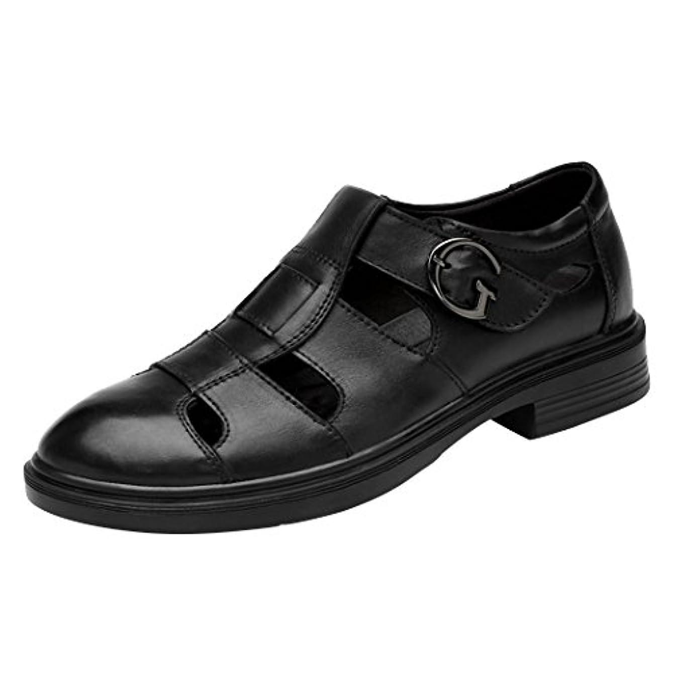 皮肉誰もバストLANSI(レンシー)メンズ カジュアルシューズ 本革 スリッポン レザーサンダル ビジネス オフィス ウォーキング ベルクロ 革靴 通気性 紳士靴