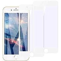 【2枚セット】iPhone7 強化ガラス iphone8 ガラスフイルム 【日本製素材旭硝子製】 6Dラウンドエッジ加工/業界最高硬度9H/高透過率/3D Touch対応/自動吸着/気泡ゼロ アイフォン7プラス ガラスフィルム アイフォン8プラス 強化ガラス液晶保護フィル 全面フルカバー 4.7インチ対応 ホワイト(白)