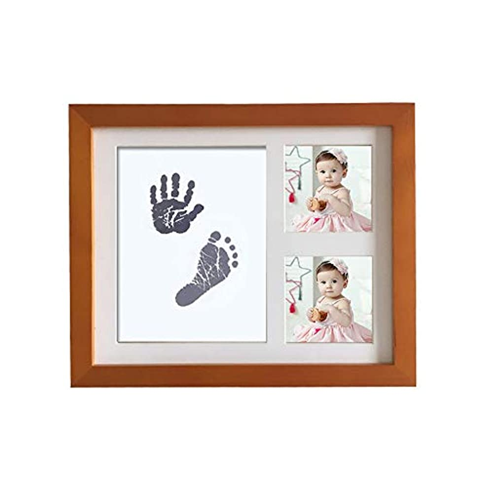 主権者製作器具赤ちゃんの手と足のプリント泥フレーム新生児ソリッドウッド手足使い捨てウォッシュオイルお土産 (Color : Coffee color, Size : 28x23x2cm)