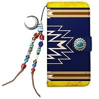[ZI:L](ジール) iPhone8Plus [LL] 手帳型 スマホケース nbot001f ケース ストラップ エスニック オルテガ柄 ネイティブ コンチョ TYPE-1 BLUE インディゴ ミラータイプ スマホカバー 携帯カバー